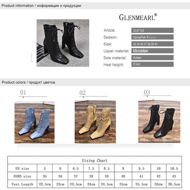 Phụ Nữ Da Bò Cao Cấp Thời Trang Giày Mùa Đông Phối Ren Người Phụ Nữ Giày Vuông Mũi Mắt Cá Chân Giày Nữ Gót