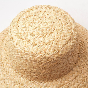 Image 5 - Summer hats for women Retro flat drooping hat brim hand made raffia straw hat ladies outdoor sun protection beach straw hat