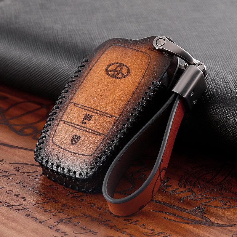 Genuine Leather Car Key Case Cover Accessorie for toyota camry corolla axio altis rav4 4Runner C-HR Fortuner Harrier Highlander