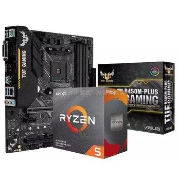 new original ASUS TUF B450M-PLUS GAMING motherboard+R5 3500X/R5 3600XT/R7 3700X/R7 3800X CPU motherboard+CPU set