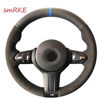 Black Leather Black Suede Steering Wheel Cover for BMW F87 M2 F80 M3 F82 M4 M5 F12 F13 M6 F85 X5 M F86 X6 M F33 F30 M