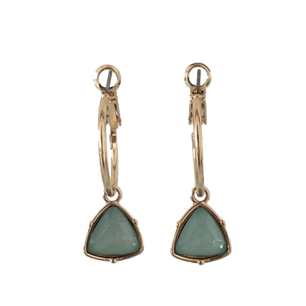 Модные женские сережки с золотым покрытием мятный камень серьги в форме треугольника серьги - Окраска металла: GREEN