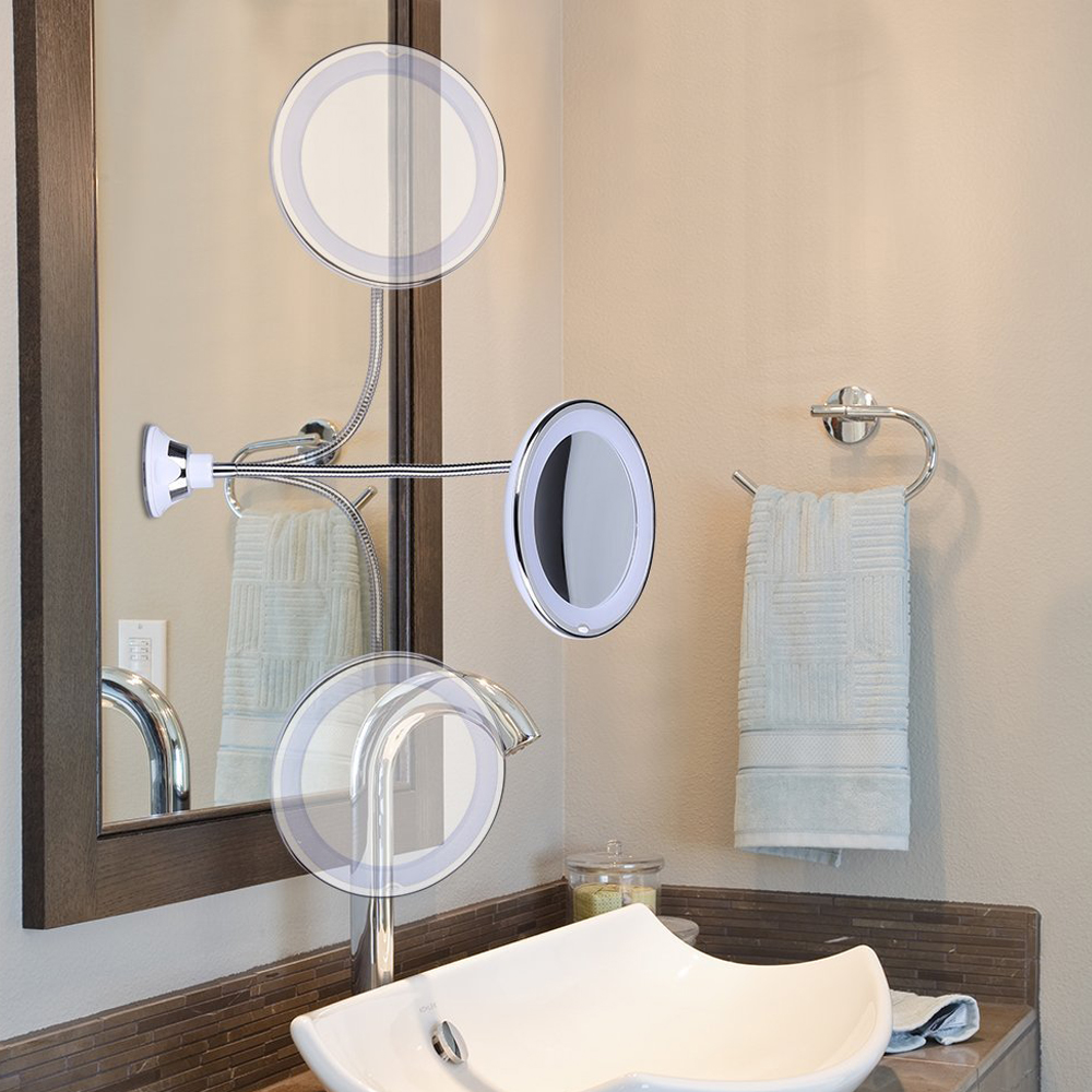 LED Makeup Mirror Magnifier Lamp Vanity Mirror 360 Degree Rotation 10X Magnifying Glass Mirror LED Table Night Light Bathroom 1