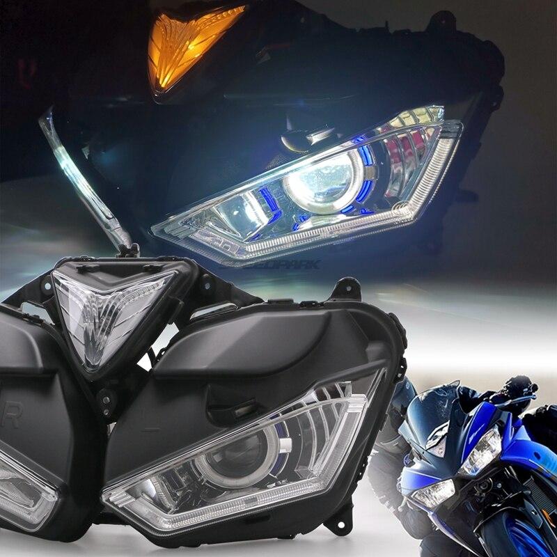 Motorcycle Full LED Headlight For YAMAHA YZF R25 R3 Angel Demon Eye HID Projector Headlight YZF-R25 R3 HID Angel Eye 2013-2017