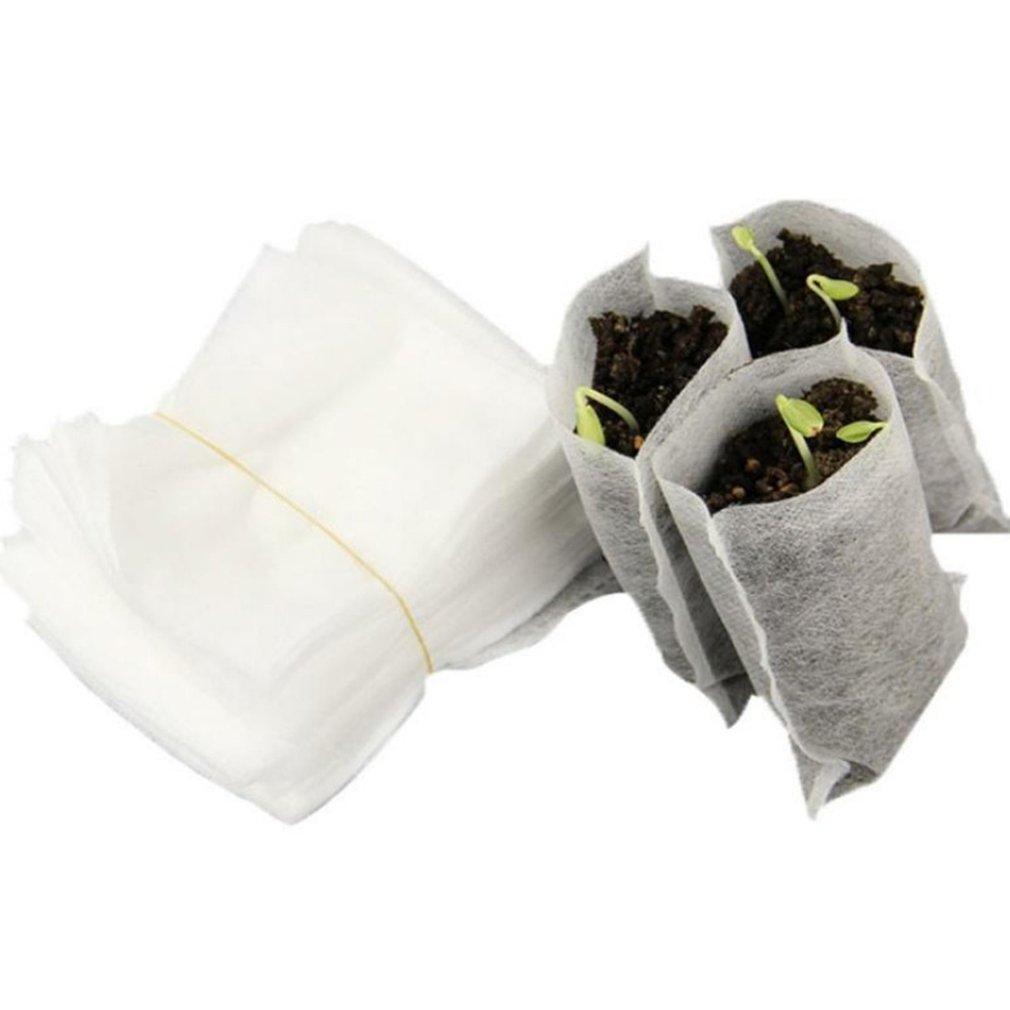 100PCS/Bag Biodegradable Seed Nursery Bags Nursery Flower Pots Vegetable Transplant Breeding Pots Garden Planting Bag