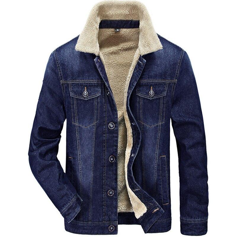 2019 Men's Fleece Denim Jacket Winter Thick Jeans Jackets Men Wool Liner Warm Fleece Coats Button Slim Fit Outerwear HX024