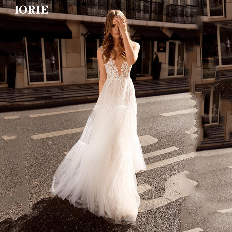 LORIE Beach Lace Wedding Dress A Line V Neck Appliques Boho Bride Dress Wedding Gowns Vestidos De Novia