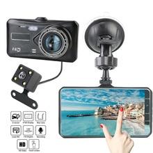 "LEEPEE 4 ""HD 1080P Video kaydedici kamera oto DashCam çift Lens g sensor WDR Dash kamera araba dvrı dokunmatik ekran"