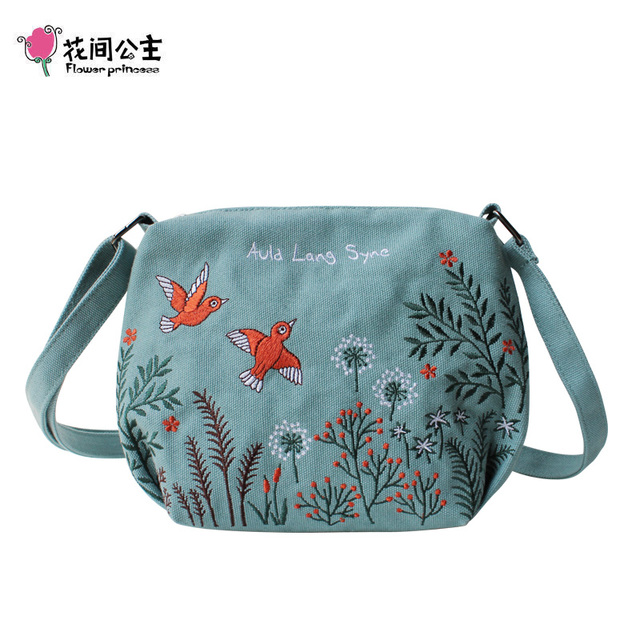 Çiçek prenses kadın Crossbody çanta yaz tuval nakış kızlar omuz çantaları kadın rahat çanta küçük çanta moda çanta