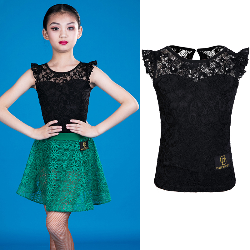 New Latin Dance Tops Kids Girls Black Lace Dancing Tops Practice Wear Competitive Outfit ChaCha Girls Latin Dance WearBL2504