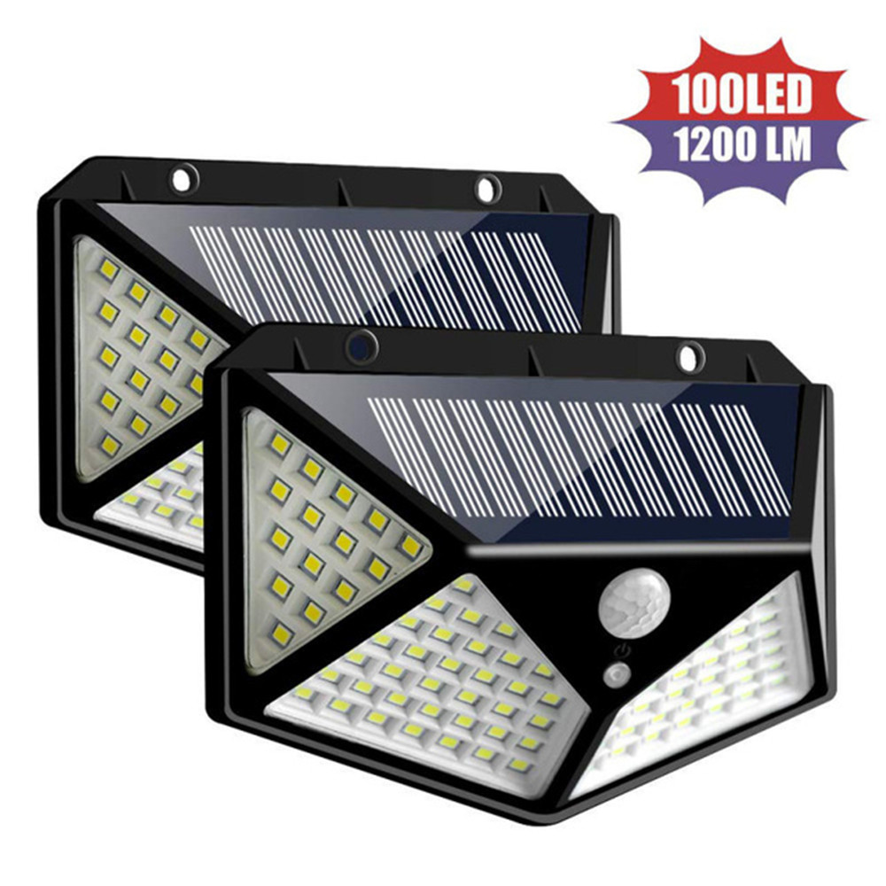 1/2/4pcs 100/144 LED Four-Sided Solar Power Light 3 Modes Motion Sensor Angle Waterproof Outdoor Yard Garden Wall Solar  Lamps