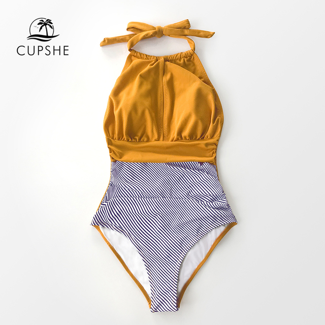 CUPSHE Textured and Striped Halter One-Piece Swimsuit Women Sexy Backless Cut Out Monokini 2020 Girl Beach Bathing Suit Swimwear 3