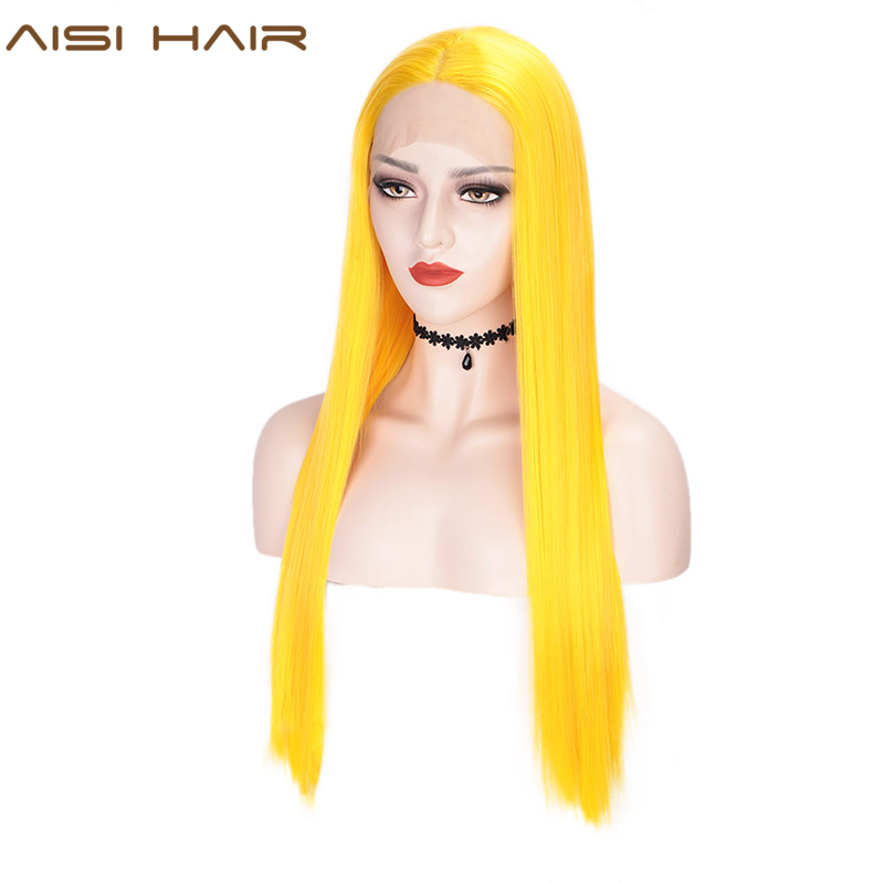 Wigs HAIR Straight-Wigs Heat-Resistant-Fiber Lace-Front Natural Yellow Synthetic Long title=