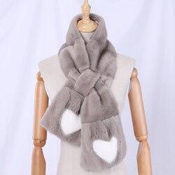 Fashion Women's Winter Genuine Real Mink Fur Full Pelt Fur Scarf Lady's Scarves Luxury Wraps Neck Warmer heart-shaped Grey