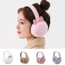 Winter Earmuffs Headband Warmer Ear-Cover Plush-Fur Girls Cute Solid