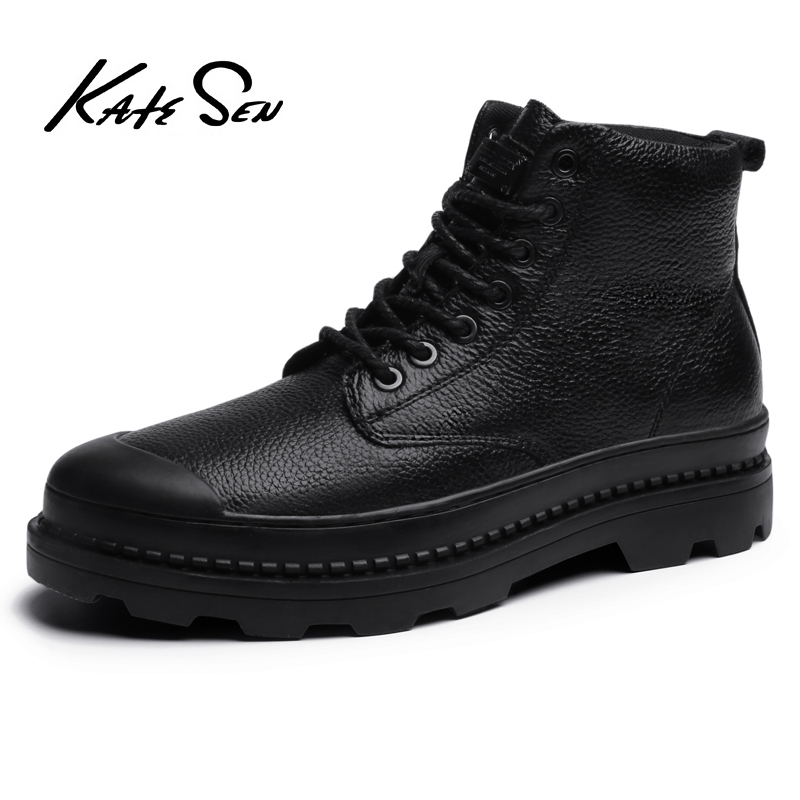 KATESEN New Men Genuine Leather Shoes Outdoor Thick Sole Casual Male High Quality Cowhide lace up shoes men