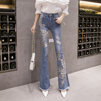 Skinny Jeans Woman High Waist Jeans Vintage Embroidery Flare Pants Stretch Slim Ripped Jeans For Women Trousers high waist skinny flare jeans