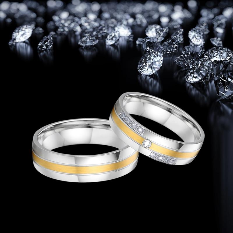 Top qualité hommes et femmes anneaux de mariage pour couple amoureux - Bijoux fantaisie - Photo 4