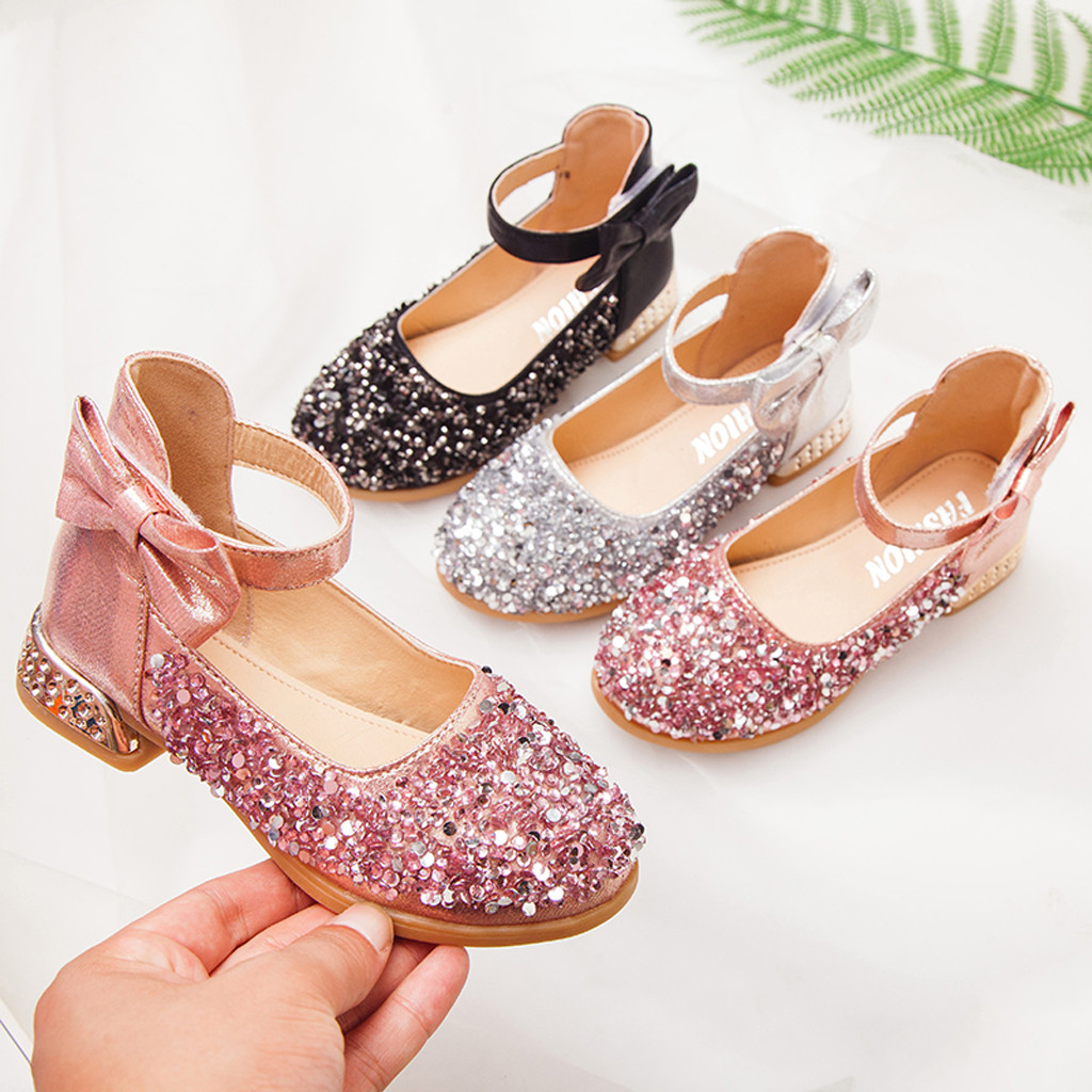 Toddler Infant Kids Baby Girls Pearl Fashion Sequins Single Princess Shoes  Children's Suit High Quality