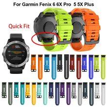 26 22 Garmin Fenix 6X 6 6s Pro 5S Plus 935 3 HR 시계 용 20MM 시계 밴드 스트랩 퀵 릴리스 실리콘 Easyfit 손목 밴드 스트랩
