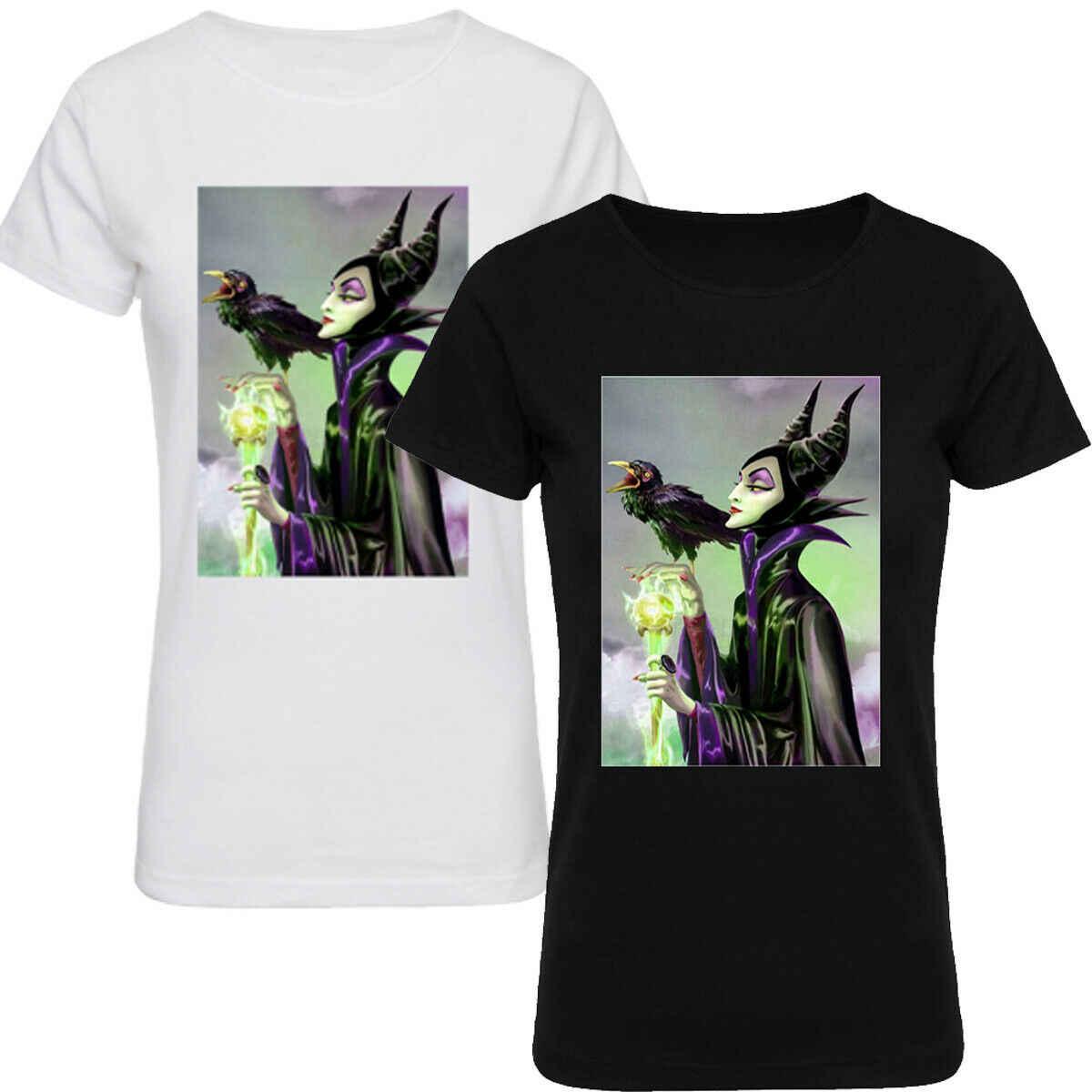 Disney Maleficent หิมะสีขาวแม่มดฮาโลวีน T เสื้อผู้หญิงแบบสบายๆ TOP Tees Naruto T เสื้อ Camisas Hombre