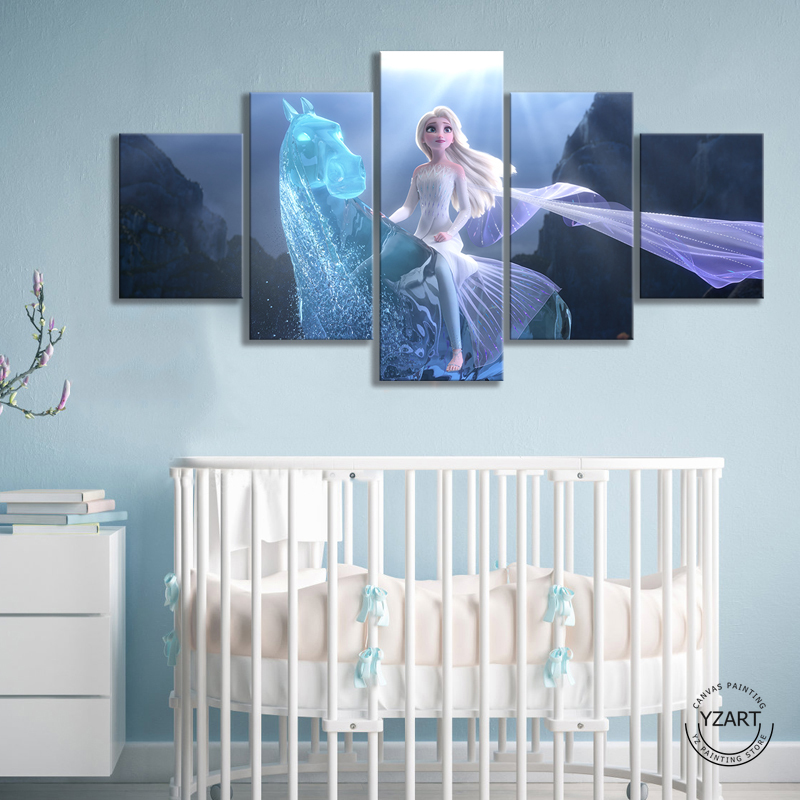 Frozen 2 Elsa&NOKK HD Movie Poster Pictures Canvas Decorative Paintings for Home Decor Wall Art