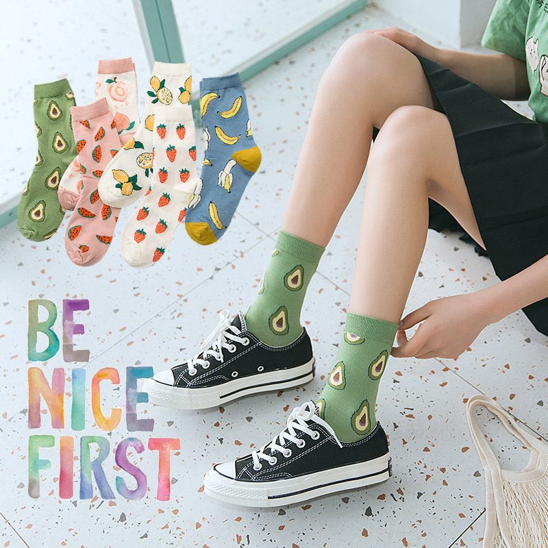 1 Pair Of Comfortable And Soft Women's Fruit Printing Middle Tube Socks Fashion Fruit Pattern Middle Tube Cotton Women's Socks