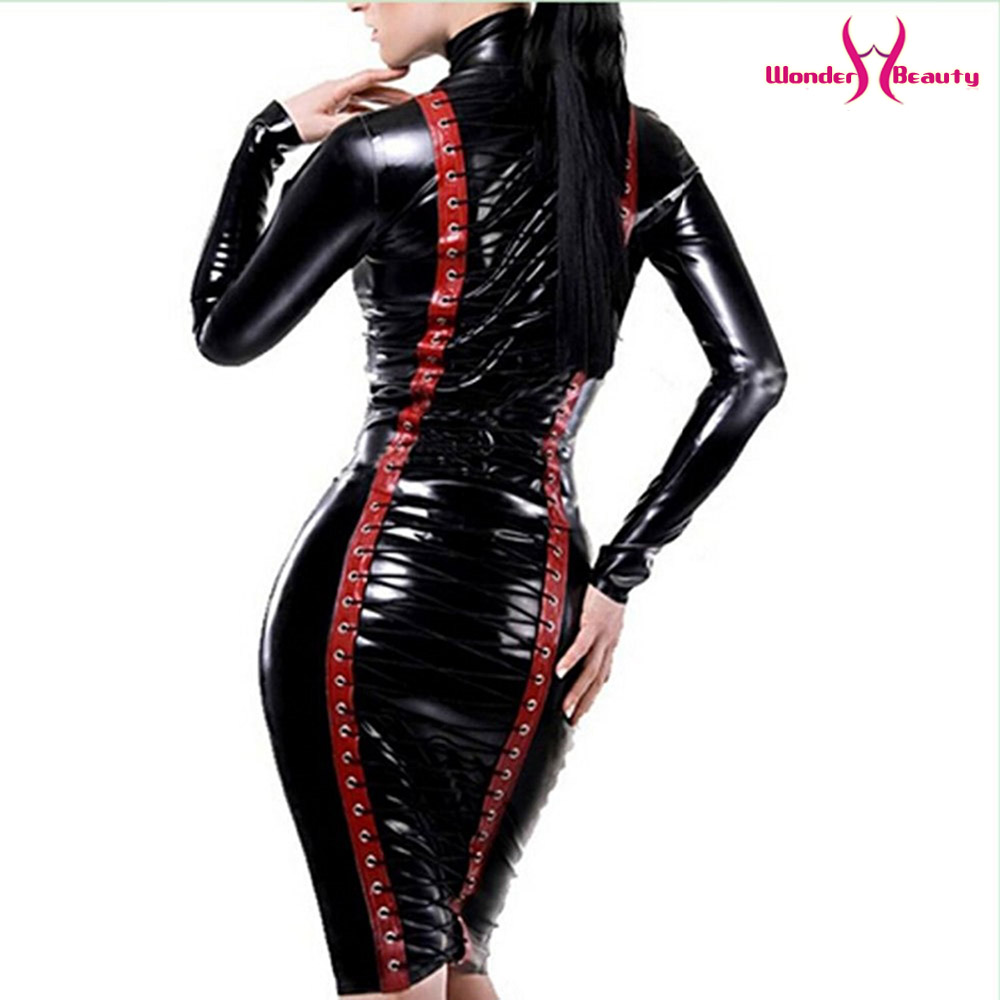 leather pencil dress sexy black pvc leather gothic midi dress lace up bondage latex clubwear long zipper wetlook vinyl dresses (12)
