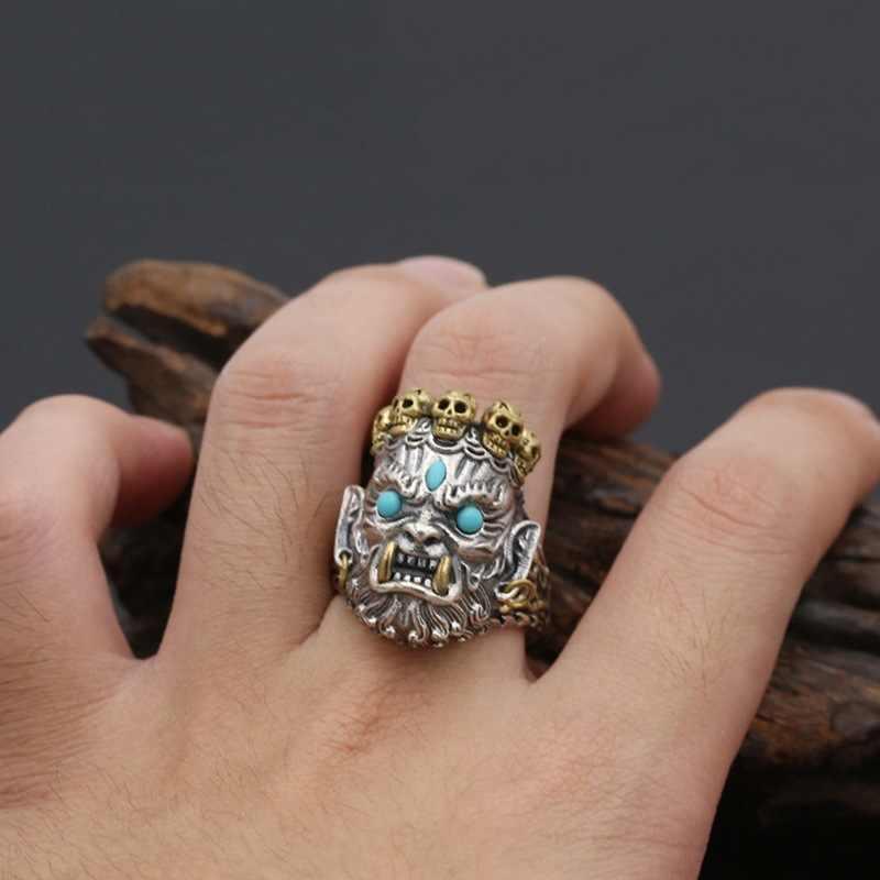 פאנק גברים טבעת בציר כסף זהב גולגולת טבעות לגברים גותי תכשיטי ליל כל הקדושים המפלגה אביזרי מתנות גודל 7-14 anillos hombre
