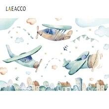 цена на Laeacco Birthday Photophone Sky Clouds Airplane Stars Photography Backgrounds Newborn Children Photo Backdrops For Photo Studio