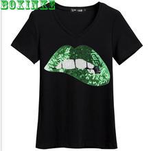 2020 yaz yeni seksi bayan T Shirt avrupa ve amerikan rahat V boyun pullu dudaklar kısa kollu alt elastik örgü üst