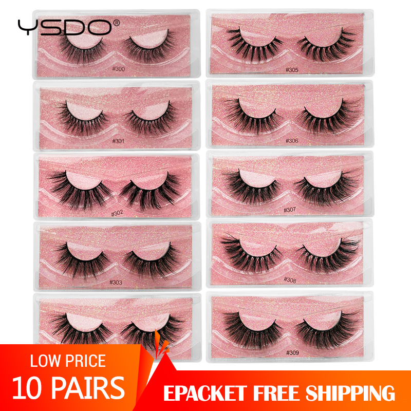 Wholesale 10 Pairs Faux 3d Mink Lashes Natural False Eyelashes Extension Makeup Dramatic Mink Eyelashes In Bulk Wispy Cilios
