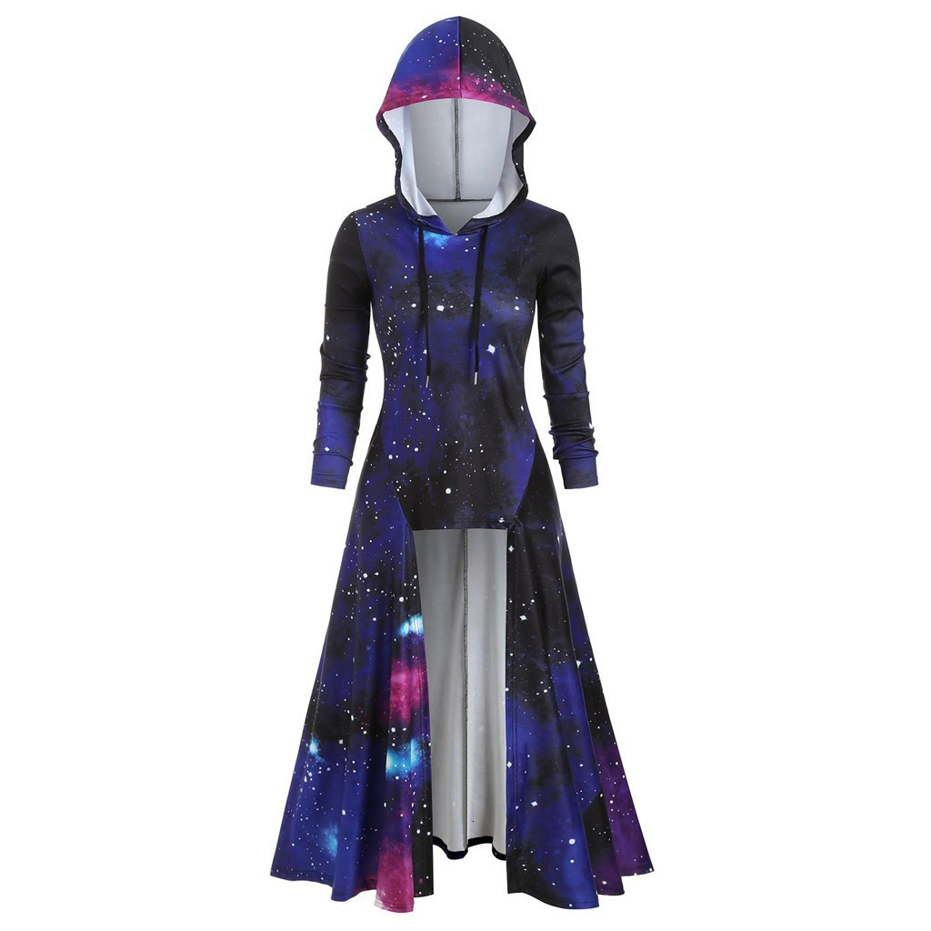 RICORIT 2020 Fashion Hooded Starry Galaxy Autumn Winter Cape Women Maxi Long Sleeve Dress Clothes Gothic Punk With Plus Size