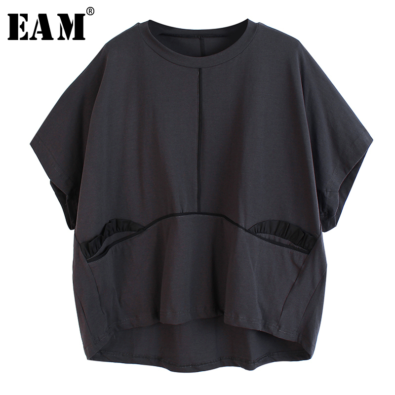 [EAM] Women Black Pocket Split Ruffles Big Size T-shirt New Round Neck Half  Sleeve  Fashion Tide  Spring Summer 2020 1U093