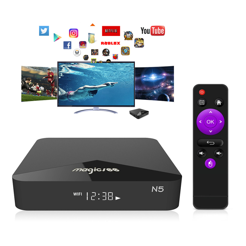 2020 New H5 Smart TV Box Android 9.0 Google Assistant 4K 2.4G / 5G Dual Wifi BT HD Network Set Top Box Media Player Top BOX