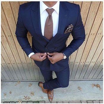 Nowe mody ciemnoniebieskie garnitury ślubne 2 sztuk męskie garnitury Slim Fit (kurtka + spodnie) smokingi dla pana młodego garnitury drużbów garnitury biurowe tanie i dobre opinie STEVDITG COTTON POLIESTER spandex Wełniana Wiosna i jesień CN (pochodzenie) Ślub Wyjściowe REGULAR Mieszkanie skinny