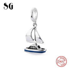 цена на Charms Silver 925 Original Antique Pendant Fit European Bracelet Charms Antique sail ship Beads Jewelry Making for women Gifts
