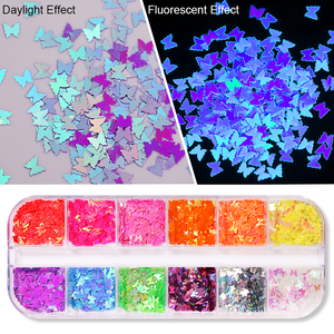 12 Grids Fluorescent Butterfly Nail Glitter Sequins Mixed Nail Flakes Paillette Tips Slices Spangle Nails Art Decoration DIY