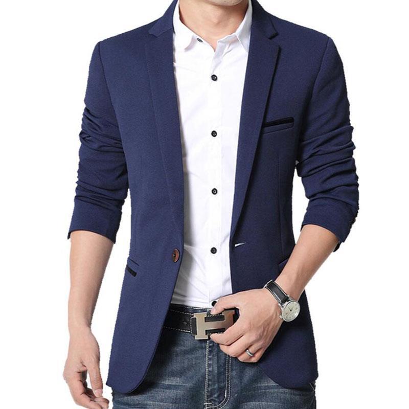 Mens Korean Slim Fit Casual Cotton Blazer Suit Jacket Black Blue Beige Plus Size Male Blazers Mens Coat Wedding Dress