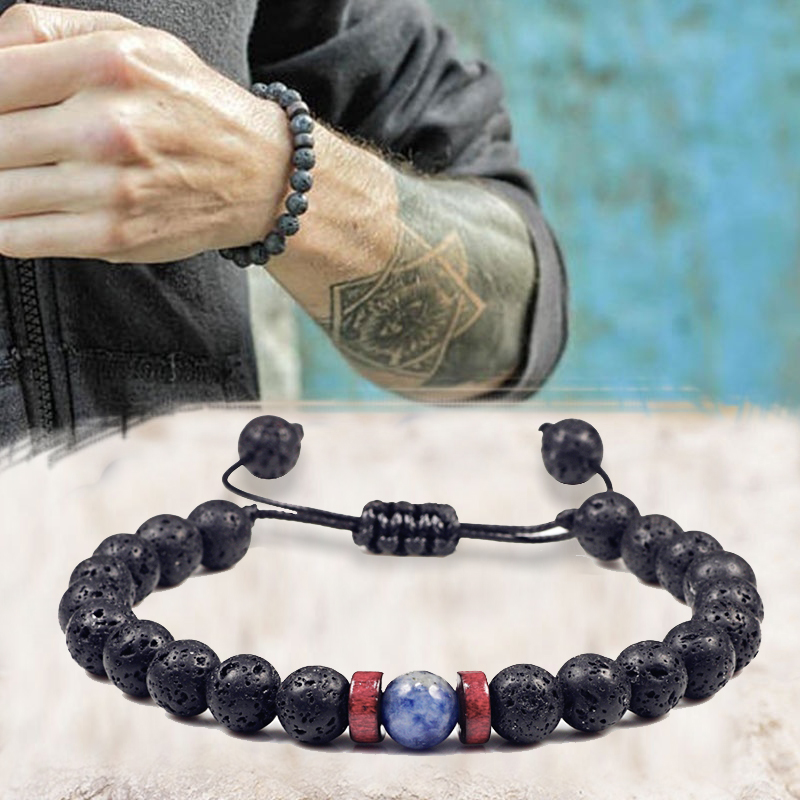 Men Bracelet Natural Black Onyx Stone Beads Tibetan Buddha Bracelet Chakra Lava Stone Diffuser Bracelets Men Jewelry Adjustable