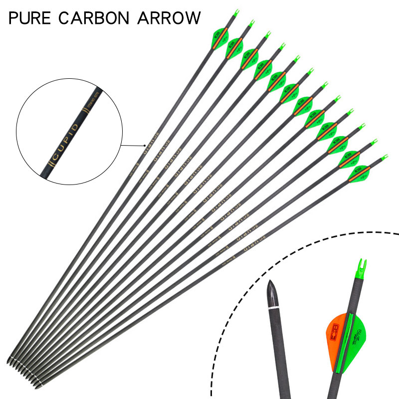 6/12/24pcs 32 Inches Spine 300 Carbon Arrow For Recurve/Compound Bows Outdoor Shooting Archery Hunting Accessories Green Arrow