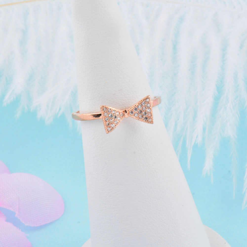 SINLEERY โบว์โบว์น่ารักแหวน Rose Gold Silver Tiny คริสตัล Inlay แหวนหมั้นผู้หญิงเครื่องประดับ JZ457 SSB