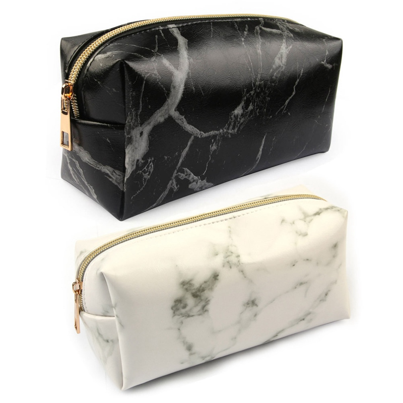 New Portable Fashion Marble Cosmetic Bags Of Women Toiletry Zipper Tool Bag Travel  Make Up Bag Case Wash PU Leather Pouch