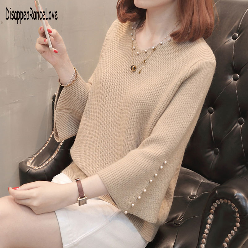 Fashion Autumn Sweater Women Casual Slim V-Neck Beads Sweaters Solid Color Winter Flare Sleeve Pullover Sweater Women
