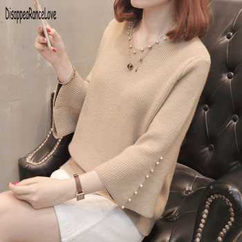 Fashion Autumn Sweater Women Casual Slim V-Neck Beads Sweaters Solid Color Winter Flare Sleeve Pullover