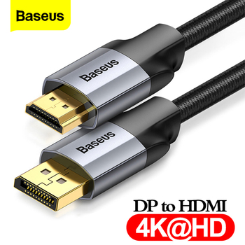 Baseus DP to HDMI Cable 4K Male to Male Display Port DisplayPort to HDMI Cable Adapter For Projector PS4 PC HDTV Converter Cord mini displayport male to hdmi male adapter cable 3m