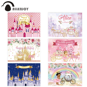 Image 1 - Allenjoy Golden Castle Princess Backdrop Pumpkin Carriage Flower Birthday Background Photo Zone Photoshoot Prop Banner
