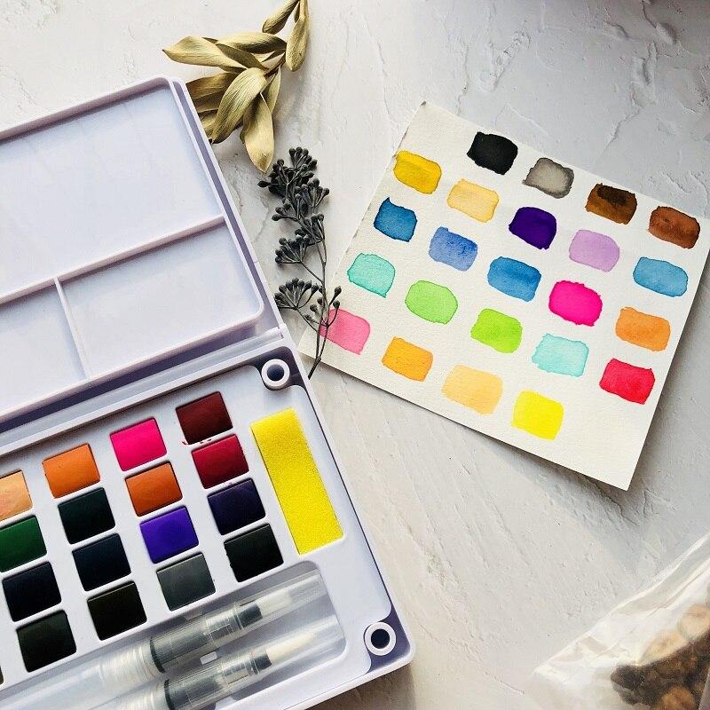 24 Colors  Watercolor Paints Set Aquarela  Portable Travel Solid Pigment With Water Color Brush Pen For Painting Art Supplies