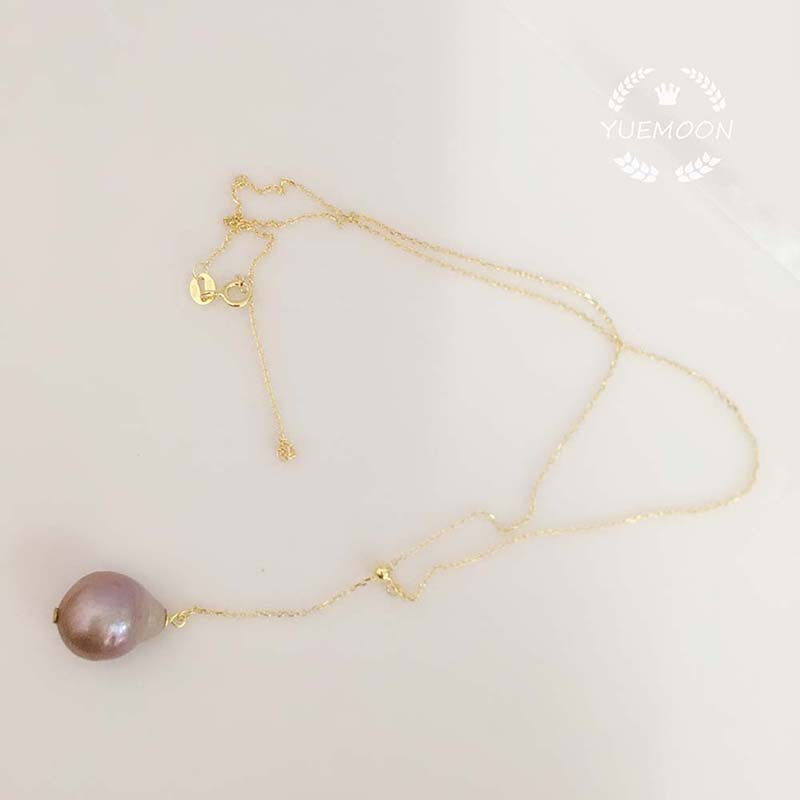 100 nature freshwater pearl pendant necklace 925 silver chain 13 16 mm big baroque pearl violet black etc silver and gold color in Pendants from Jewelry Accessories