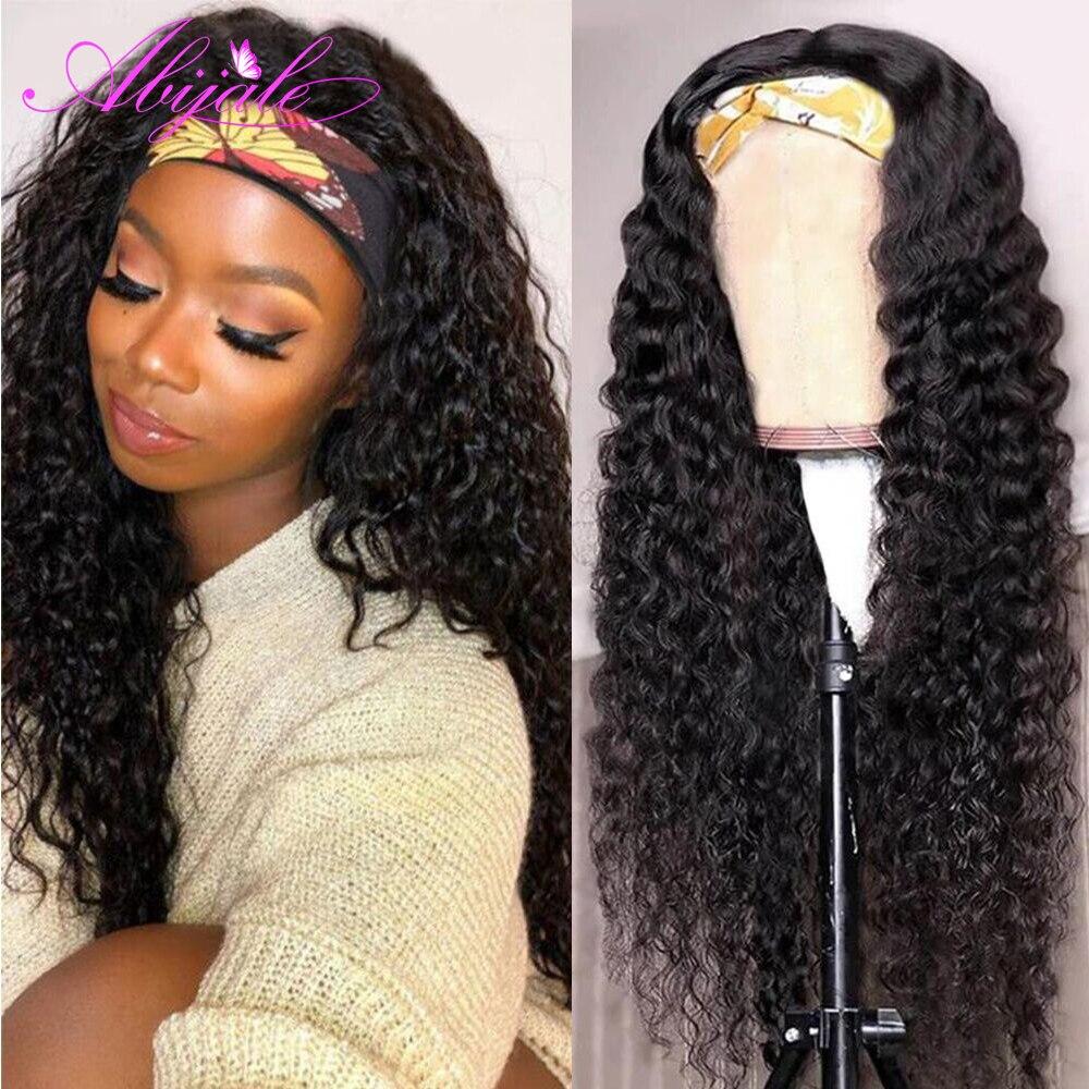 Abijale bouclés vague bandeau perruque cheveux humains brésilien vague profonde Machine faite perruques avec bandeau pas de colle écharpe perruque